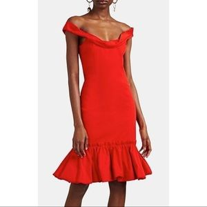 PROENZA SCHOULER Gabardine Flounce Mini Dress